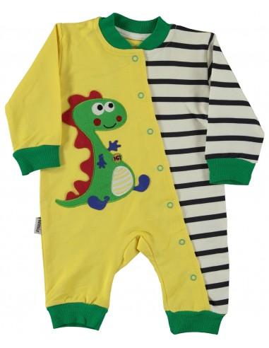 Pajac za dojenčka - rumeni dinozaver...