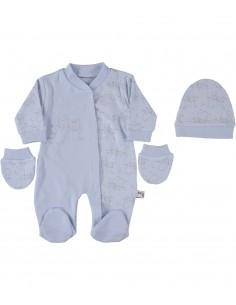 pajac komplet za dojenčka pižama kapica rokavice