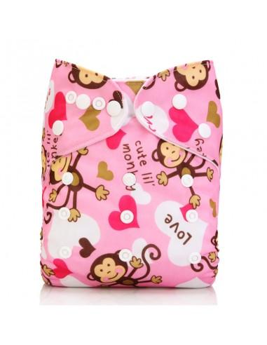 Žepasta pralna plenica Mala Ritka  roza zaljubljena opica