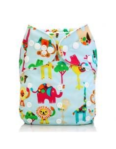 Žepasta pralna plenica Mala Ritka  svetlo modra slon žirafa lev flamingo