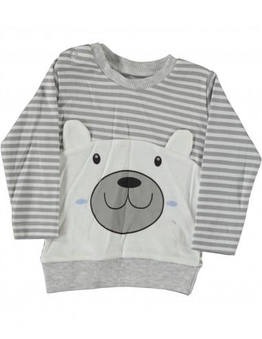 Pulover za dojenčka - medo siv in bel