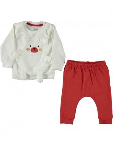 Trenirka za dojenčka - rdeči medvedek...