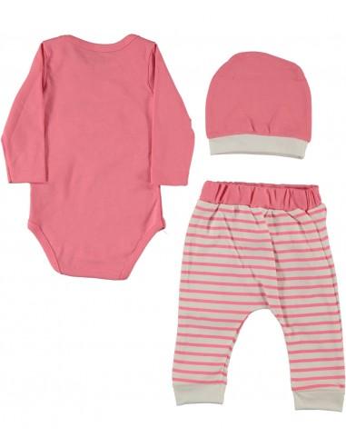 Komplet za dojenčka - roza muca se smeje