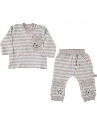 Komplet za dojenčka - hlačke in majčka zajček siv