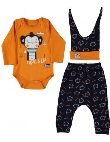 Komplet za dojenčka - oranžna opica -...